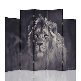 Diviseur de pièce décoratif, 5 panneaux, double-sided, toile, vieux lion
