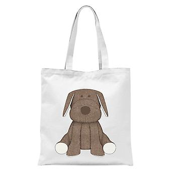 Brown Dog Teddy Tote Bag - White