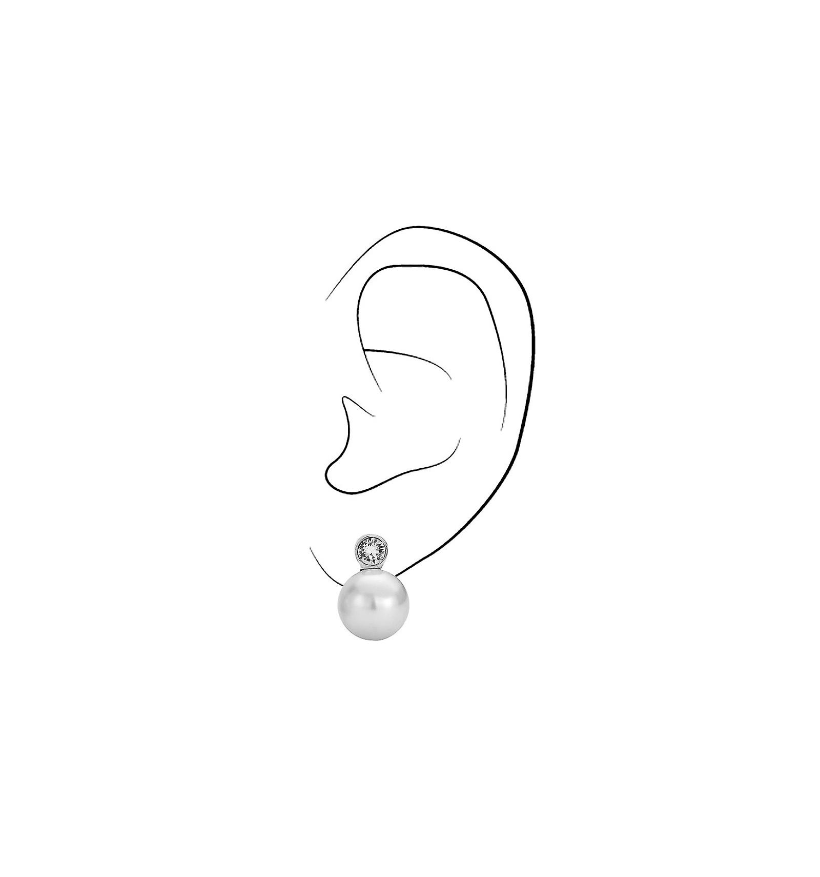 Reiziger clip Earring-12mm witte parel-rhodium plated-113487