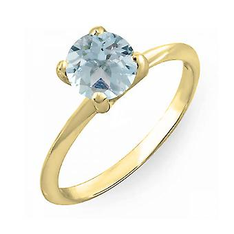 Dazzlingrock Collection 10K 6mm Round Cut Aquamarine Solitaire Bridal Engagement Ring, Yellow Gold