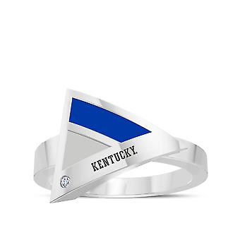 University of Kentucky graviert Sterling Silber Diamant geometrische Ring in blau und grau