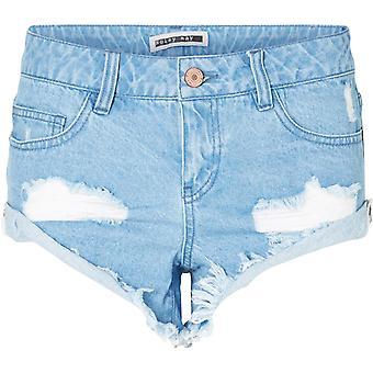 Noisy May Fran Distressed Denim Shorts Light Blue 28