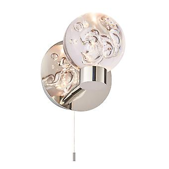Endon Versa LED 1 Light Bathroom Wall Chrome, Acrylique avec bulles IP44 76366