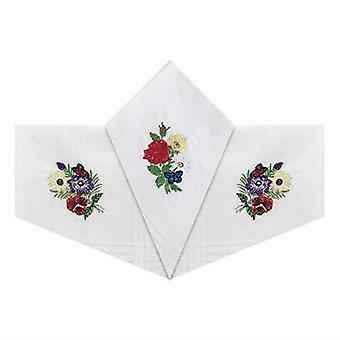Womens/Ladies Cotton White Handkerchiefs With Flower Bundles & Satin Borders