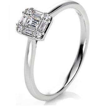 Diamond Ring Ring-18K 750 witgoud-0,23 CT.