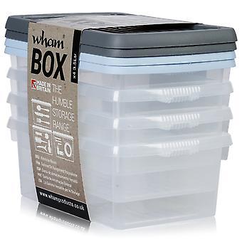 Wham opberg set van 4-3,5 liter Wham plastic Opbergdozen met blauw/grijs deksels