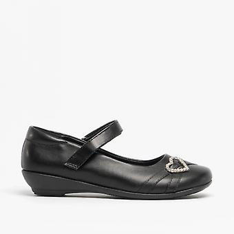 US Brass Shona Girls Heart Brooch Sash Velcro Bar Shoes Black
