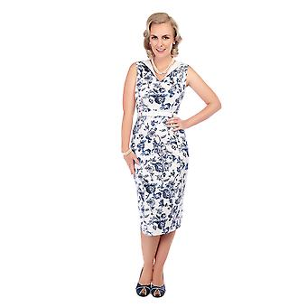 Collectif Vintage Women's Fitted White & Blue Toile Print Helen Dress
