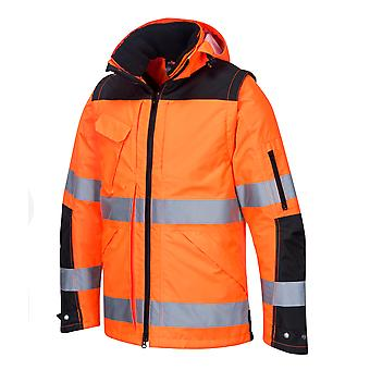 Portwest - Hi-Vis Outdoor Executive Adaptable 3-in-1 Jacket With Pack Away Hood