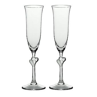 Stolzle Clear Heart Champagne Flutes Set of 2