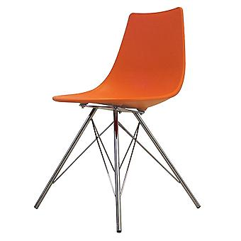 Fusion Living Iconic Orange Plastic Dining Chair With Chrome Metal Legs