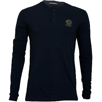 Versace Iconic Long-Sleeve Henley T-Shirt, schwarz