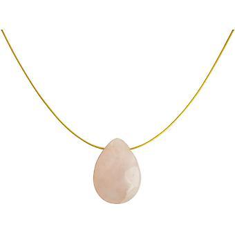 Colar de gemido feminino rosa quartzo gota pingente, 925 prata ou ouro banhado