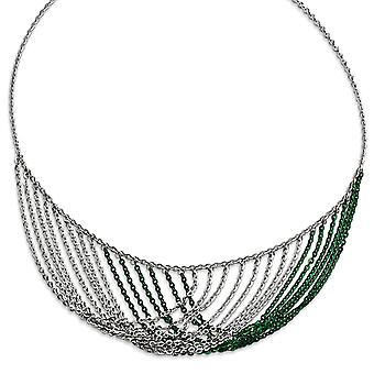 925 Sterling Silver Rhodium and Green Plated Multi Strand Necklace With 2inch Ext 18 Inch Jewelry Gifts for Women