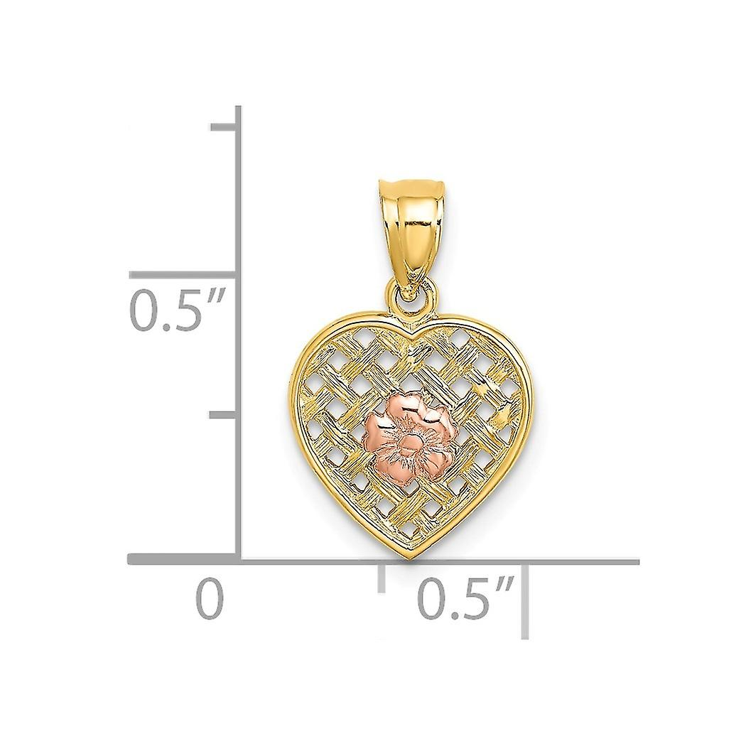 12mm 14k Two tone Gold Pink Flower Woven Love Heart Pendant Necklace Two color Jewelry Gifts for Women