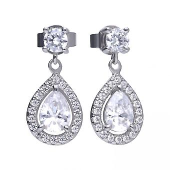 Diamonfire Silver & White Zirconia Pave Set Teardrop Cluster Earrings