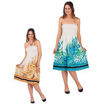 Pistachio Women's Cotton Floral Print Strapless Summer Dress / Skirt