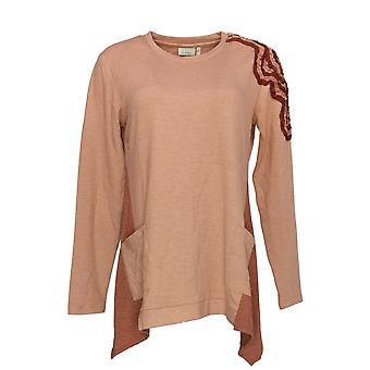 LOGO van Lori Goldstein Women's Top Knit Top w/Ribbon Detail Pink A294522