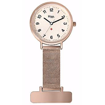 Hipp nurse watch for Women Analog Quartz with Stainless Steel Bracelet in Gold Washed H30006