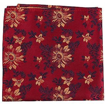 Posh and Dandy Flowers Silk Handkerchief - Maroon Red/Gold