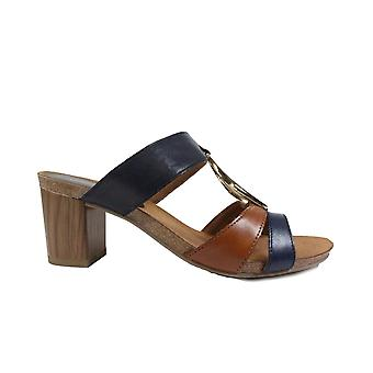 Caprice 27210 Navy/Tan Leather Womens Heeled Slip On Mule Sandals