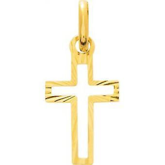 750/1000 żółty złoty krzyż wisiorek (18K)