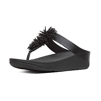 FitFlop Fino™ Bead Pompom Toe-post Sandals In Black