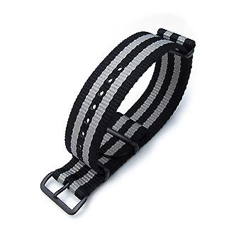 Strapcode n.a.t.o watch strap miltat 22mm or 24mm g10 military watch strap ballistic nylon armband, pvd - black & grey stripes