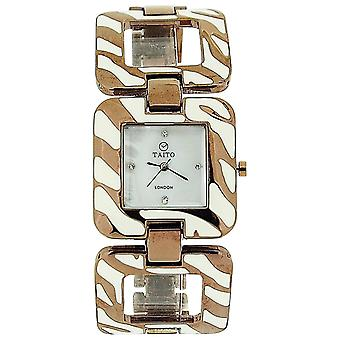 Taito London Ladies Mother Of Pearl Dial Bronze Tone Metal Square Link Watch