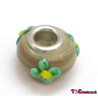 TOC BEADZ Woody kukka 9mm lasi dia-On & helmi