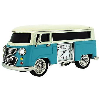 Miniature Blue Camper Van - Caravan Novelty Desktop Collectors Clock 9710BL