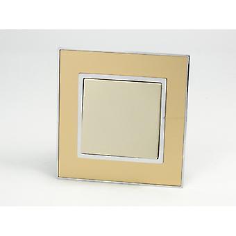 Ich LumoS als Luxus Gold Spiegelglas 1 Bande 1 Weg Rahmen Wippe Lichtschalter