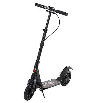 HOMCOM Adult Teens Kick Scooter Foldable Height Adjustable Aluminum Ride On Toy for 14+ with Rear Wheel & Hand Brake, Shock Mitigation System - Black