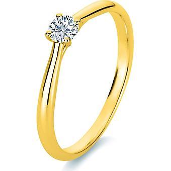 Bague diamant - 14K 585/- Or Jaune - 0,2 ct. - 1A289G451 - Largeur de l'anneau: 51