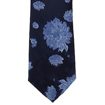 Michelsons London stor blommig polyester slips - Navy/blå