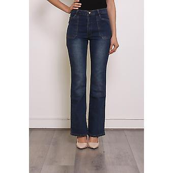Womens High Waist Stretch Denim Flared Bootcut Jeans