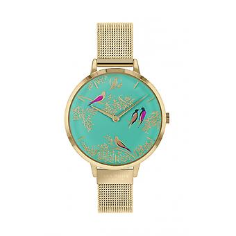 Sara Miller SA4008 Women's Green Birds Mesh Bracelet Wristwatch