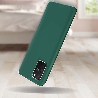 Case Galaxy S10 Lite Soft Silicone Matte Green + Protecteur d'écran flexible