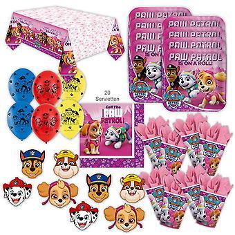 Paw Patrol Rosa Party Sett XL 51-brikke for 8 gjester hund fest bursdag dekorasjon fest pakke