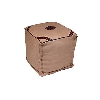 Pouf Colonial Color Beige in Tessuto 40x40x40 cm