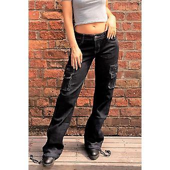 Dunkle Wäsche breite Denim Cargo Jeans