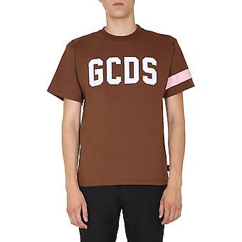 Gcds Cc94m02100414 Heren's Brown Cotton T-shirt