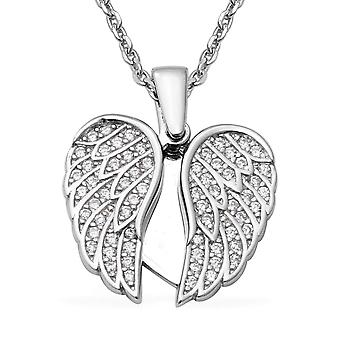 """ELANZA Angel Wings Cubic Zirconia CZ Sterling Silver Necklace Size 17.5"""", 1.3 Ct"""