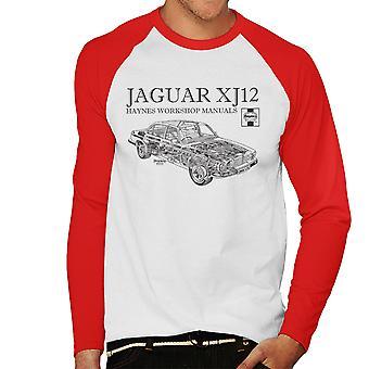 Haynes Owners Workshop Manual 0242 Jaguar XJ12 Black Men's Baseball Long Sleeved T-Shirt