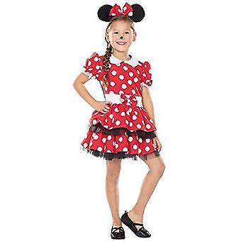 Mausemädchen Kinder Mickymaus Kostüm Kleid Maus Minniemaus 2-teilig Mausohren