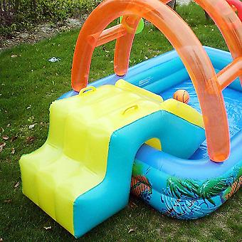 Summer Inflatable Outdoor Games Water Park Basketball Play Swimming Pool With Water Slide Hoop Toys For Kids