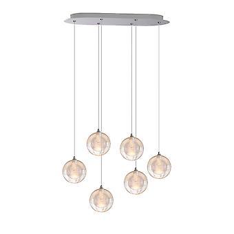 Aura 6 Light Nickel Pendant - Oval Canopy