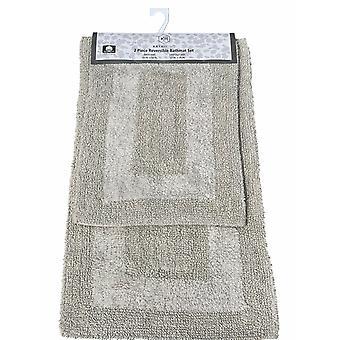 2 Pc Non-Slip Cotton Reversible Soft Bathroom Mat Set Bath Rug