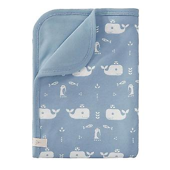 Fresk Baby Blanket 80x100cm Whale Blue Fog