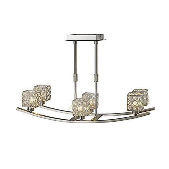 Inspirado Diyas - Elsa - Telescópico Semi Flush Techo Colgante 6 Light Satin Nickel, Crystal